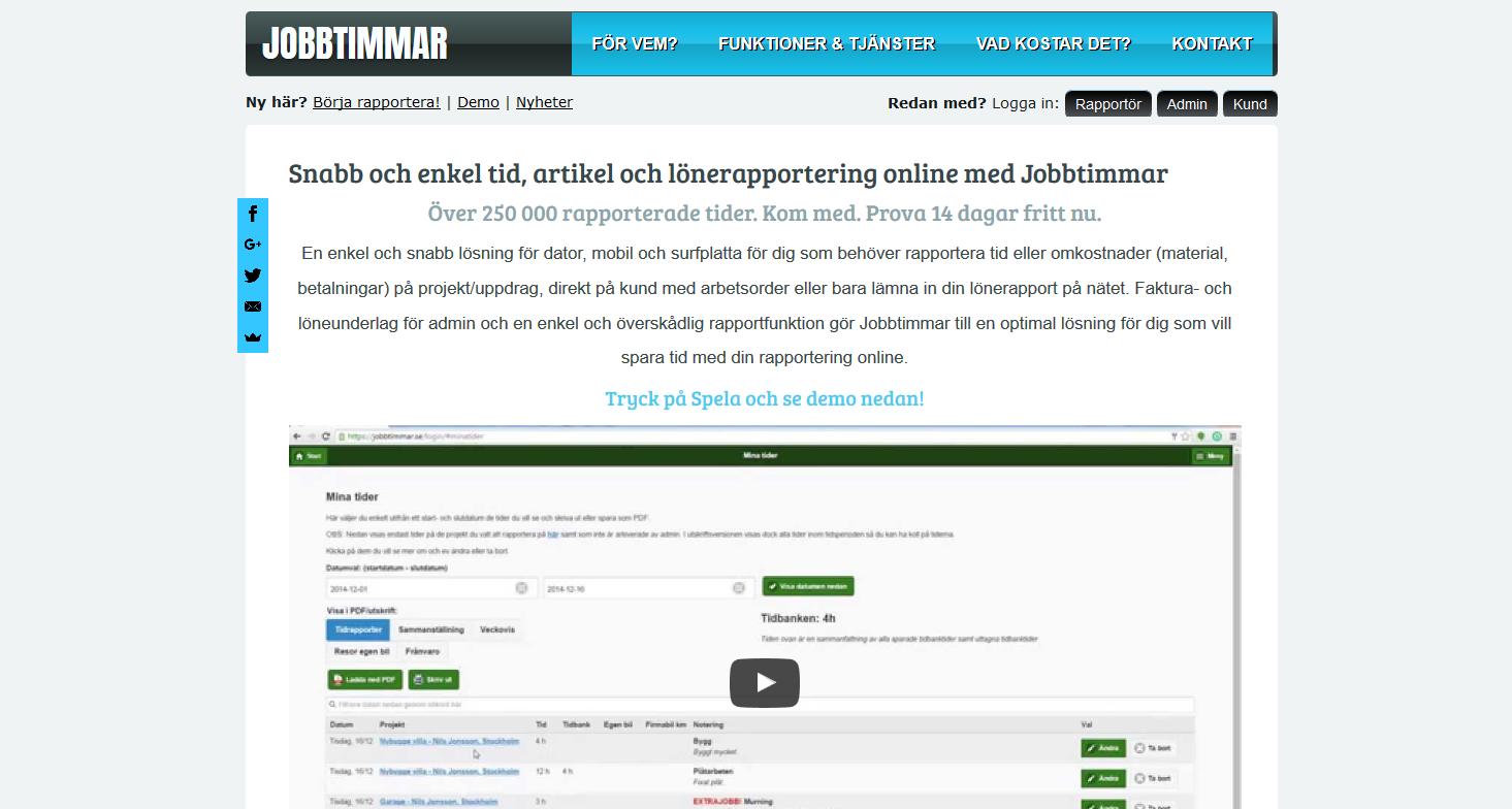 Tidrapporteringstjänst för alla: Jobbtimmar.se